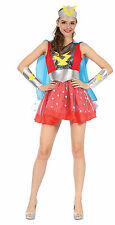 Fancy Dress Costume Ladies Super Woman Comic Book Heroine Blue Red Stars
