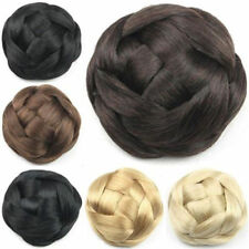 Fashion Women Sytnhetic Braided Clip In on Hair Bun Chignons Roller Hairpiece