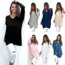Women Loose Knitted Oversized Sweater Hoody Tops Long Pullover V-Neck Outwear UK