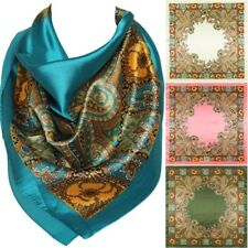 Floral Pattern Bandana Scarf Silk Satin Square Neck Head Wrap Blue/Red/Black New