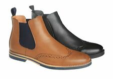 MENS TAN CHELSEA ANKLE BOOTS MODEL LS46 SIDE ELASTIC BROGUE STYLE DETAIL