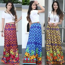Womens Boho Gyspy Floral Printed Ladies Holiday Beach Party Long Maxi Skirt