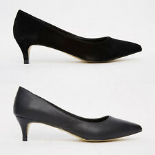 Womens Low Mid Kitten Heel Court Shoes Pointed Toe Ladies Office Smart Casual
