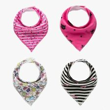 4 Piece. Newborn Dual Use, Bib/Bandana includes clip for a Pacifier for Babies.