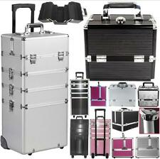 4in1 Large Aluminum Makeup Case Hairdressing Vanity Cosmetic Box Trolley