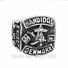 Mens Denmark Bandidos MC Biker Engraved Ring Stainless Steel Silver 316L Jewelry