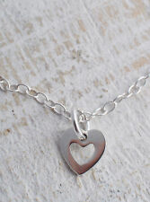 STERLING SILVER 925 MINI HOLLOW HEART CHARM NECKLACE