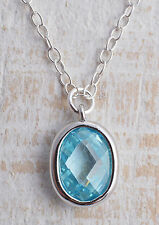 STERLING SILVER AQUA BLUE CUBIC ZIRCONIA OVAL CHARM CHAIN NECKLACE 925