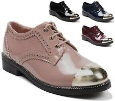 WOMENS OXFORDS BROGUES PATENT LEATHER SHOES LADIES DANCE LOW HEEL LOAFERS SIZE