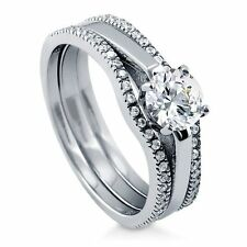 Sterling Silver Round Cubic Zirconia CZ Solitaire Engagement Wedding Stacka 248