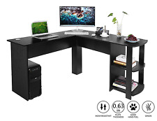 Large Corner Desk Gaming Station with 2 Shelves for Home and Office Use
