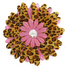 NEW Large Leopard Print Hair Flower 50s Vintage Rockabilly Style Hair Flower 5""