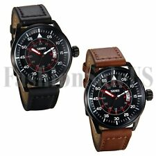 Men's Infantry Army Military 12/24H Dial Leather Strap Quartz Wrist Sports Watch