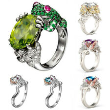 Men Frog Prince Crown 925 Silver Peridot Emerald Wedding Engagement Ring Sz 6-10