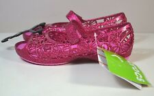 NWT GIRLS KIDS CROCS ISABELLA GLITTER PINK FLATS SANDALS SLIP ON SHOES C8-C12