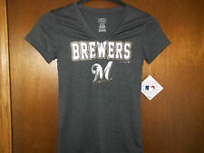 Milwaukee Brewers Girls v-neck grey  T-Shirt NWT  L 10-12