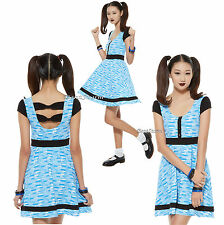 "NEW ""BUBBLES"" POWERPUFF GIRLS Blue White Bubble Print Dress HOT TOPIC EXC. JRS."