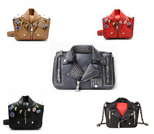 Designer Motorcycle Jacket Clothing Rivet Shoulder Messenger Chain Leather Bag