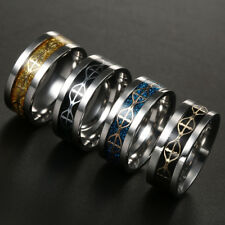 Titanium Steel Band Ring Stainless Size 6-13  multi-colored Jesus Crosses Pray
