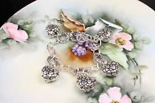Silver Plated Charm Bracelet - Puffy Crackled Heart Toggle Link Antiqued