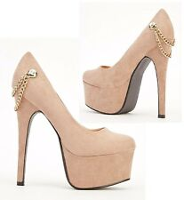 NEW LADIES KHAKI PLATFORM POINTED TOE VERY HIGH STILETTO HEEL COURT SHOES SIZE