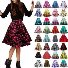 Ladies Womens Floral High Waisted Midi Skirt Skater Full Circle Pleated A-Line P