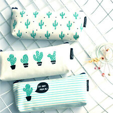 New Cactus Canvas Pencil Stationery Case Box Cosmetic Makeup Pouch Zipper Bag