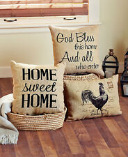 Vintage Style Burlap  Decorative Accent Pillows Home Sweet Home ,Rooster, Bless