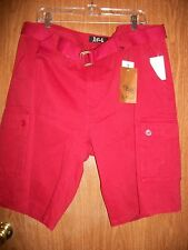NWT REFUEL RED TWILL BELTED CARGO SHORTS Retails $59.00
