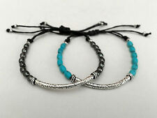 Stacking STRING BRACELETS Gemstone Beads Turquoise Silver Gold Plate Adjustable