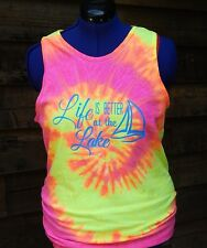 SALE Ladies Life is better at the Lake tie dye tank top size sm-xxlg