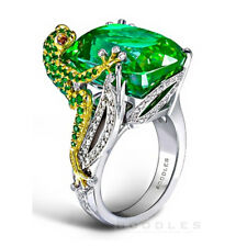 6.8CT Emerald Frog 925 Silver Women Jewelry Wedding Engagement Ring Size 6-10