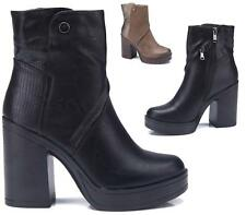 NEW WOMENS BLACK FAUX LEATHER ZIP CHUNKY SOLE PLATFORM BLOCK HEEL ANKLE BOOTS