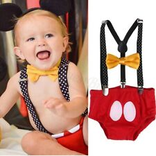 Cute Mickey Mouse Newborn Baby Clothes Girls Boys Bowtie Suspender Pants Outfits