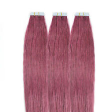 20PC Tape in Remy Hair Extensions Human Hair Weft Long Straight Rose Pink