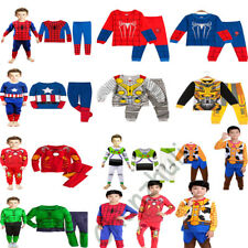2PCS Super Hero Boy Children Kids Long Sleeves Homewear Pajamas Sleepwear Set
