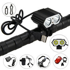 5000LM 2X XM-T6 LED USB Rechargeable Bicycle light Bike Lamp+Headband+Taillight