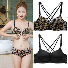 Front Closure wire free Seamless Lace Lingerie Deep V Sexy Push Up bra Leopard
