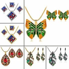Vintage Crystal Butterfly Leaf Pendant Necklace Earrings Women Party Jewelry Set