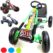 Go Kart Kids Childrens Pedal Ride On Car Racing Toy Rubber Tyres Wheels Go
