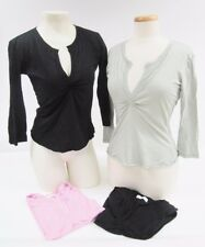 NWOT Rebecca Beeson 3/4 Sleeve Ruched Split Neck Top Black Pink Green M L
