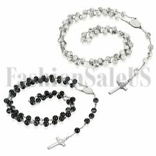 Mens Women Stainless Steel Beaded Jesus Crucifix Cross Necklace Chain Lucky Gift