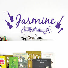 [WD101023] Personalised Name Wall Art Sticker - Music Notes, Instruments, Guitar