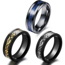 1pc Tungsten Carbide Silver Dragon Celtic Scroll Inlay Men's  Ring Wedding Band