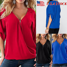 Plus Size Women V-Neck Loose Tops Casual Short Sleeve Zip Blouse Summer T Shirts