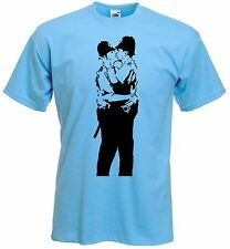 BANKSY KISSING COPPERS T-SHIRT - Police - Choice Of Colours - Size S to XXXL