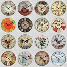 Antique Clock Wall Rustic Vintage Style Wooden Round Clocks Art Home Decor PICK