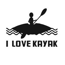 MagiDeal I LOVE KAYAK Decal Stickers for Kayak Canoe Boat Car Window