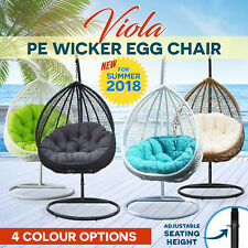 Wicker Hanging Swing Rattan Pod Egg Chair Patio Outdoor Furniture with Cushion