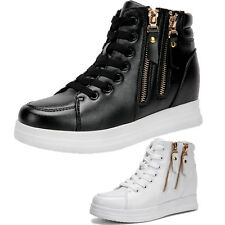 Women Girls Lace Up Sport PU Leather Boots Flats Heels High Top Sneakers Shoes